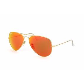 Luxottica Ray-ban Anteojos De Sol Naranja Rojo Marco Dorado