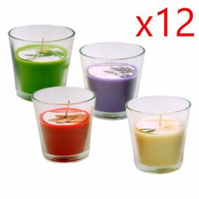 Kit 12 Velas Decorativas Copo Grande Vidro 8x8 - 4 Aromas