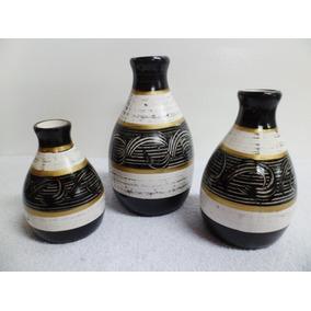 Jogo Vasos Em Cerâmica - Preto C/ Cru E Dourado