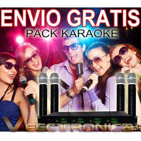 Envio Gratis Pack Karaoke Con 4 Microfonos+receptor Wow Vecc
