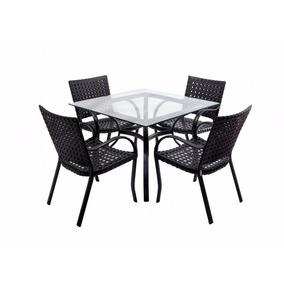 Conjunto Fibra Mesa Quadrado 4 Cadeiras Sala Cozinha Piscina