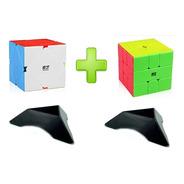 Pack 2 Cubos Qiyi Qicheng Skewb + Square-1 + 2 Bases + Lubri