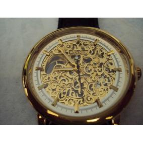 Reloj Winner Skeleton Mecanico De Cuerda Extensible De Piel