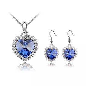 Set Joyas Cristales Swarovsky Collar Aretes Hermosos