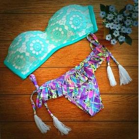 Bellisimo Bikini Verde/lila Corte Brasileño Push Up M Y L..