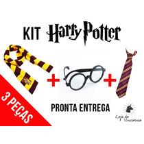 Kit Fantasia Harry Potter Com 3pc Óculos P. Cachecol Gravata