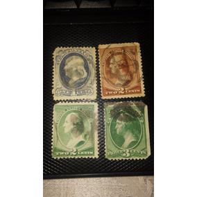 Selo Rarissimo Colecao George Washington 1870 1,2,2,3 Cent