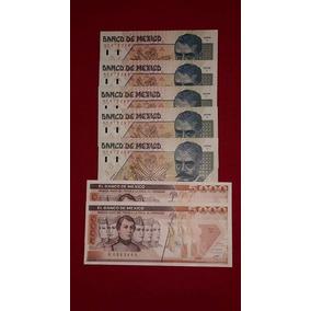 Juego De 7 Billetes, 5 De Zapata Y 2 De 5000 Niños Heroes.