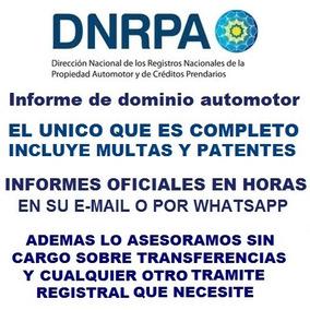 Informe De Dominio Automotor Oficiales En Horas A Su Mail