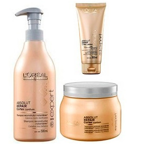 Shampoo Absolut Repair 500ml Loréal + Máscara 500g + Thermo