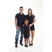 Pais E Filhos Kit 3 Pçs Camisa E Vestidos Polo Azul Marinho