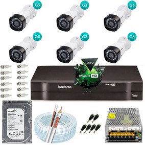 Kit Cftv 6 Câmeras Multi Hd 720p Dvr 8 Canais Intelbras 1008