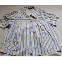Camisa Feminina Listrada Manga Curta - Tam. M