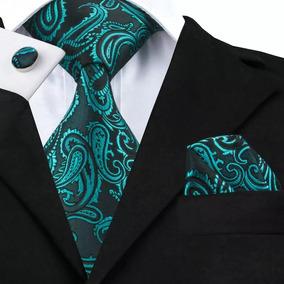 B1045 Corbata Pañuelo Mancuernillas- Azul Negro Gargoleada