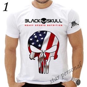 Camiseta Black Skull Caveira Preta Academia Cross Fit