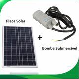 Bomba Dágua Submersível Com Painel Placa Solar Até 3000l/dia