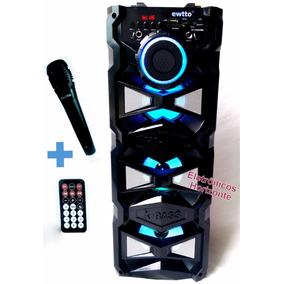 Caixa Som Bluetooth Amplificada Usb Sem Fio Microfone Fm Mp3