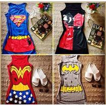 Vestido Curto Feminino Super Herói Carnaval Festa Roupas