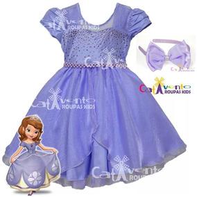 Vestido Festa Infantil Princesa Sofia Tam 4 Ao 16 Com Tiara