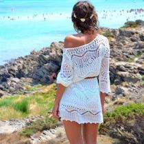 Bata Saída Praia Branco Off Vestido Importado No Brasil