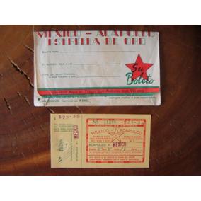 Boleto Antiguo De Autobús Estrella De Oro Con Sobre De 1953