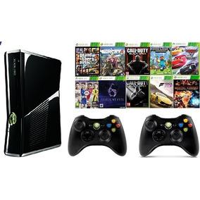 Xbox 360 Slim 4gb + 2 Controles +10 Jogos + Joga Na Live