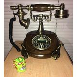 Telefono Modelo Antiguo Madera Digital 21 Cm Identificador