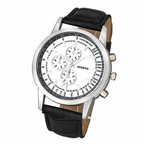 Relógio Masculino Geneva Aço E Pulseira Couro Preta - Barato
