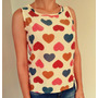 Blusa Seda Camiseta Fresca Verão Coração Corações