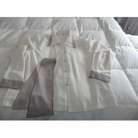 Camisa De Seda Color Natural Impecable Talle 4