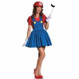 Fantasia Super Mario Girl Completa Tamanho M Festa Cosplay