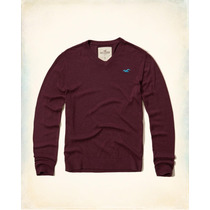 Hollister Sueter Cuello V Color Tinto Talla M Originales