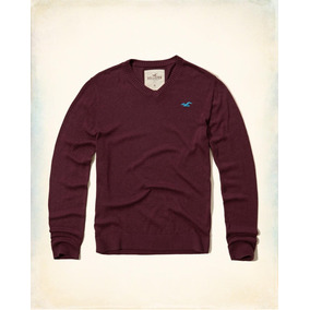 Hollister Sueter Cuello V Color Tinto Originales
