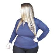Blusa Suéter Feminino Trico Gola V Ou O - Plus Size G1 A G3
