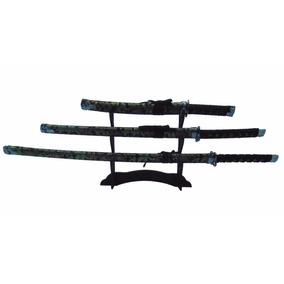 Kit 3 Conjunto Espadas Samurai Ninja + Suporte Grátis