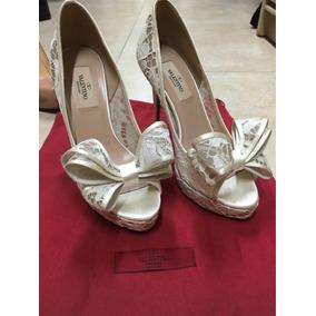 Zapatos Valentino De Encaje Blanco 100% Originales Talla 36