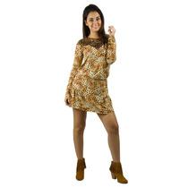 Vestido Banna Hanna Visco Com Renda Estampado Onça/bege