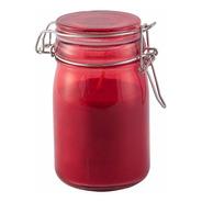 Vela Perfumada Decorativa Em Vidro Vermelho Tampa - Canela
