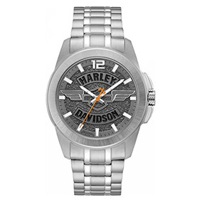 Harley-davidson Mens Wing Bar & Shield Stainless Steel Watch