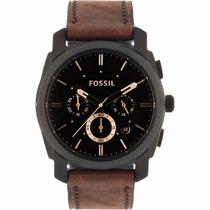 Reloj Fossil Hombre Fs4656 Machine Analógico Marrón