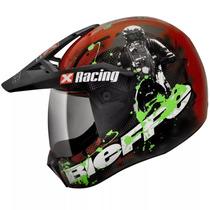 Capacete Bieffe 3 Sport Xracing Verde Vermelho - Com Viseira