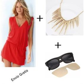 Vestido Rojo + Collar + Lentes De Sol.