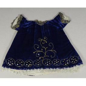 Vestido Terciopelo Azul Niño Dios Bordado Dorado Siglo 19