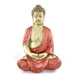 Buda Tibetano Resina Poliéster Esotérico Envelhecidovermelho