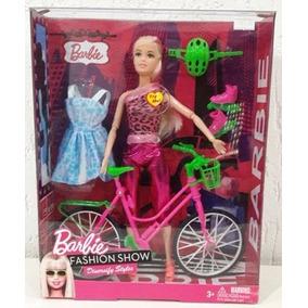 Kit Barbie Boneca Importada Bicicleta Patins Roupa Sapato