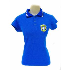 Camisa Polo Feminina Brasil Seleção Brasileira Baby Look