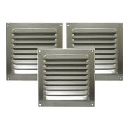 Kit 3 Grades De Ventilação Quadrada De Alumínio Itc 20x20 Cm
