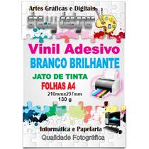 Adesivo Vinil Jato De Tinta Branco P/ Brindes A4 10 Unid
