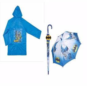 Capa Chuva + Guarda Chuva Batman Kit Infantil Chuva