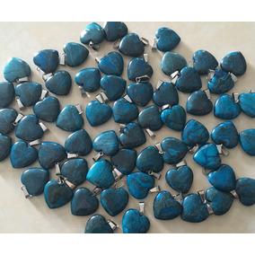 Dije Corazón Ónix Azul Piedra Natural Tamaño 20mmx20mm
